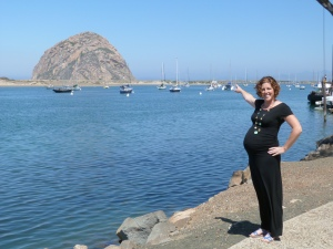Seven months pregnant with my second! Delighting in finding matching forms in nature. Morro Bay, CA